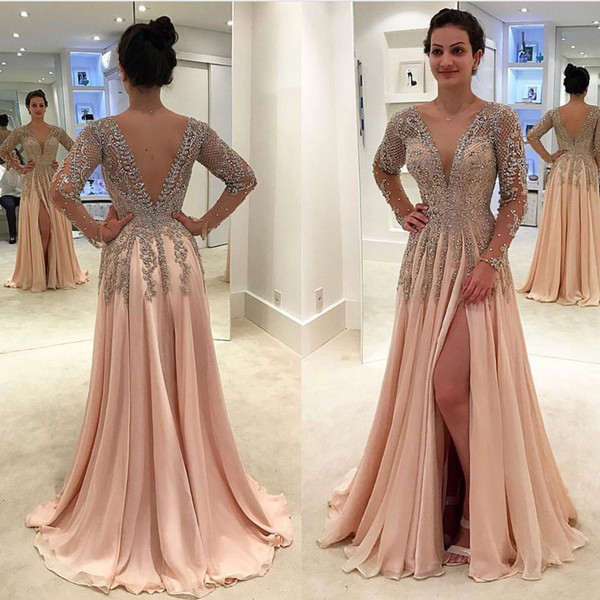 Long Sleeve Split Prom Dresses A Line Deep V Neck Backless Formal Evening Gowns Beaded Lace Appliques Chiffon Sweet 16 Ball Party Dress