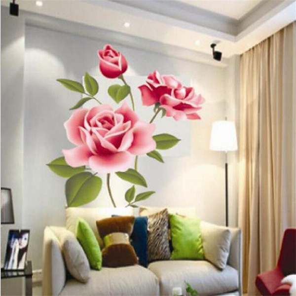 Romantic Pink Rose Wall Sticker Home Decor Bedroom Art Mural Flowers Decoration PVC DIY Valentine's Day Gifts Poster Wallpaper