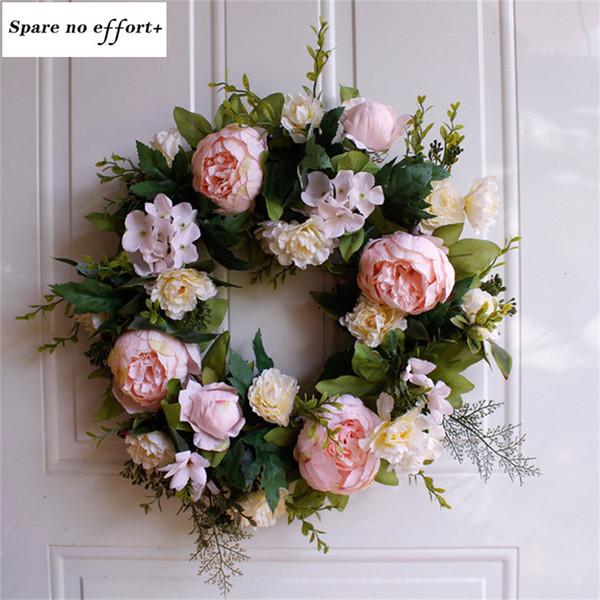 2019 Diy Artificial Flower Garland Door Wreath Rose Wreath Home Wedding Garden Party Decor Hanging Door Silk Flower From Hobarte 74 3 Dhgate Com