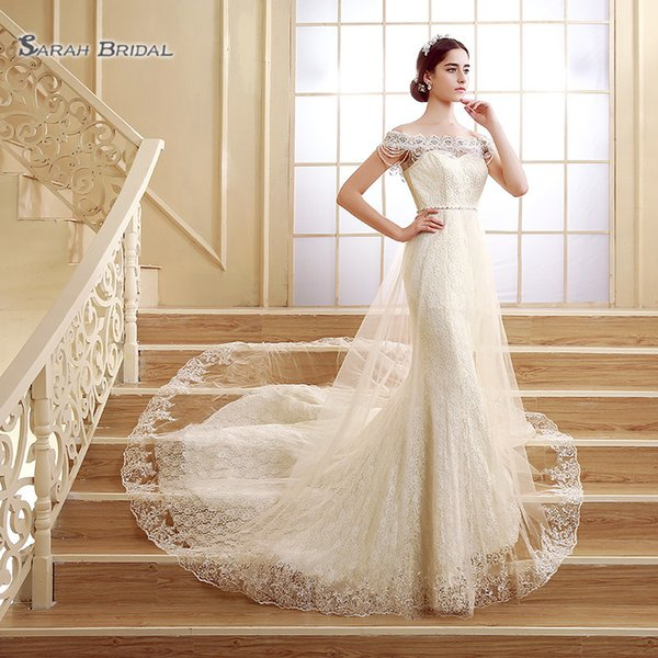 top popular 2020 Mermaid Sleeveless Off Shoulder Tulle Overskirt Pearls Sexy Wedding Dresses Bridal Ball Gowns SQS02 robes de mariée 2020