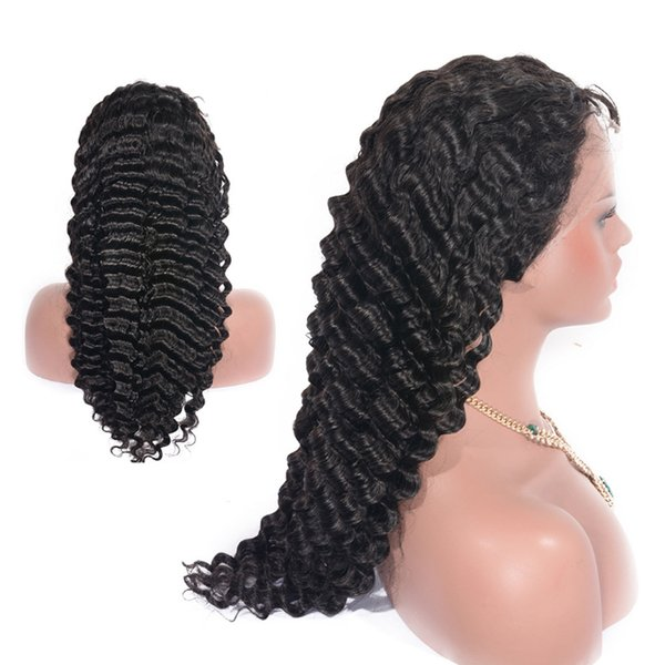 Sexy Curly wig deep wave wine Lace Frontal Wig Pre Plucked Full Lace Human Hair Wigs Glueless Full Ending Lace Wig Dolago