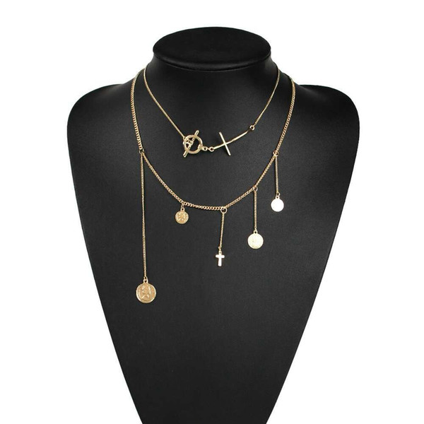 gold coins pendant necklaces for women luxury alloy coin pendants western fashion punk necklace holiday style jewelry birthday gift for gf
