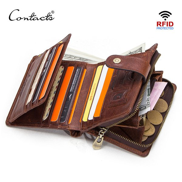 df7a8582d6e5 CONTACT'S genuine leather RFID vintage wallet men with coin pocket short  wallets small zipper wallet with