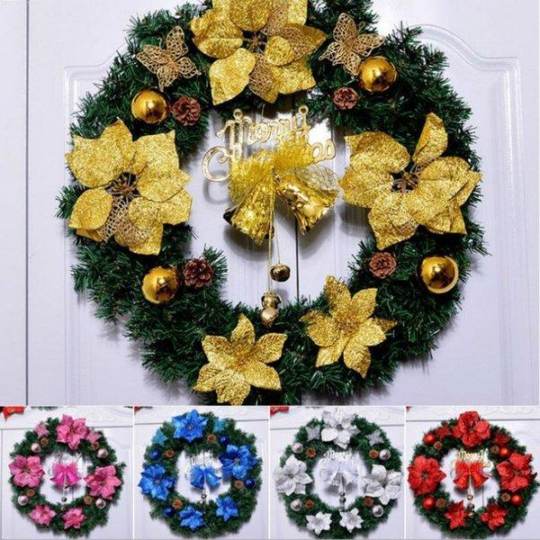 Nuovo 30-45cm Bella elegante Hanging Corona di Natale Ghirlanda di scintillio Fiore Frutta sfera Cono di natale Ornamenti per porte e finestre