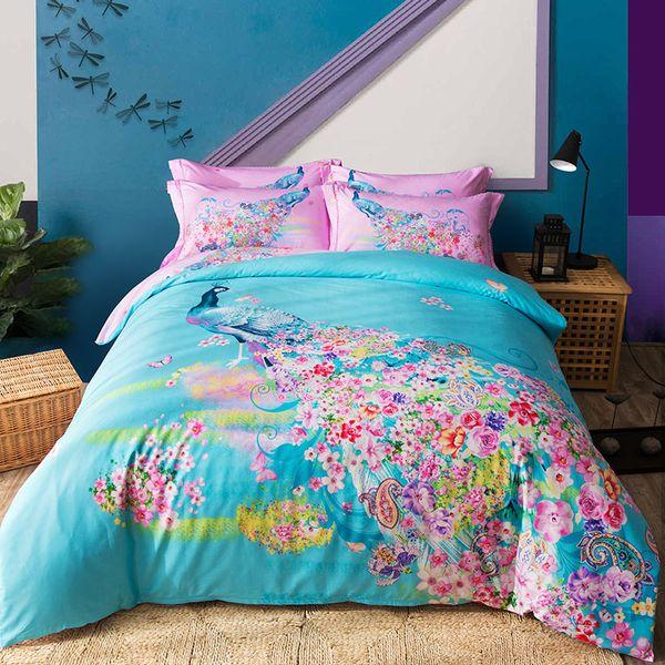 100% Algodão cervos impressão pavão boho cama Queen / King Size Cama Folha de Capa de Edredão Fronhas