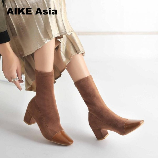 2019 Stretch Knit Women Sock Boots Fashion Striped High Heel Mid-Calf Winter Shoes Fabric Botas Feminina Ankle Sequined Cloth K6