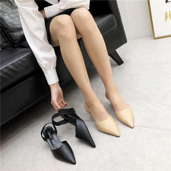 Fashion2019 Sharp Fine Overlength Slope High With Degree Of Tightness Single Woman Shoes Low Help Shoe Will 40