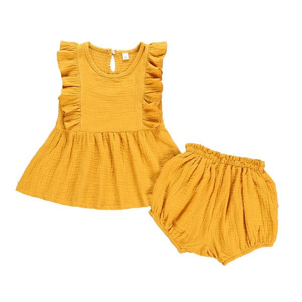 FOCUSNORM Criança Kid Meninas Roupas de Verão 2 pcs Sólidos Sem Mangas Vestido Tops + Shorts Calças Casuais Adorável Outfits Set 18M-4Y