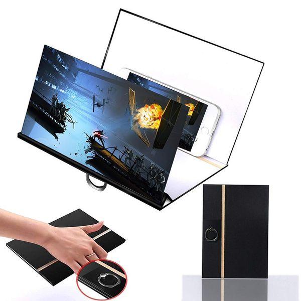 8 pulgadas HD Pantalla Lupa Soporte 3D Teléfono celular Grano de madera Películas portátiles Amplificador móvil universal con soporte plegable Ampliar Soporte