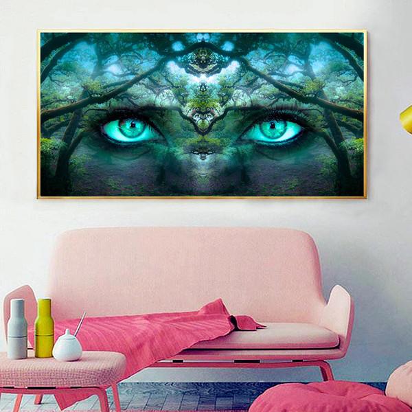wholesale Big Diamond Painting Landscape Tree Eyes Full Display Diamond Embroidery Scenery Picture Of Rhinestones Manual Art