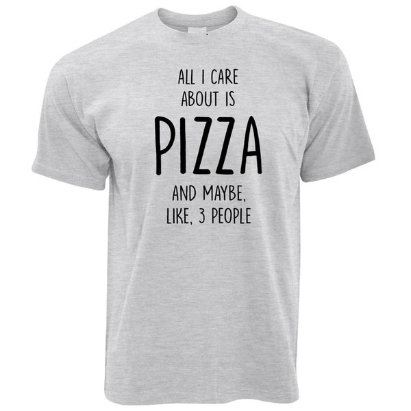 Komik Erkek T-Shirt Tek umrumda Pizza Ve 3 Kişi Gibi Komik Serin