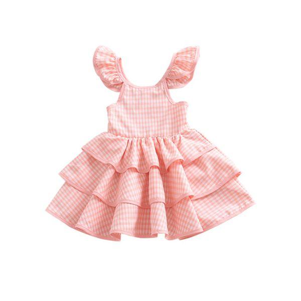 Girl summer plaid halter dresses Baby girls flying sleeve princess dress Children's birthday costume party tutu dresses kids cltohing 1-5Y