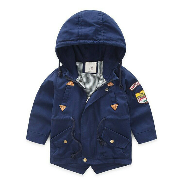 Spring Autumn Jacket Boys Kids Outerwear Windbreaker Coats Fashion Children Hooded Trench Coat for toddler boy jacket Cotton