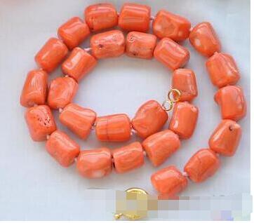 16mm cilindro barroca rosa coral perlas joya mujeres novia regalo de 925 collar de perlas de plata original de 18 ''