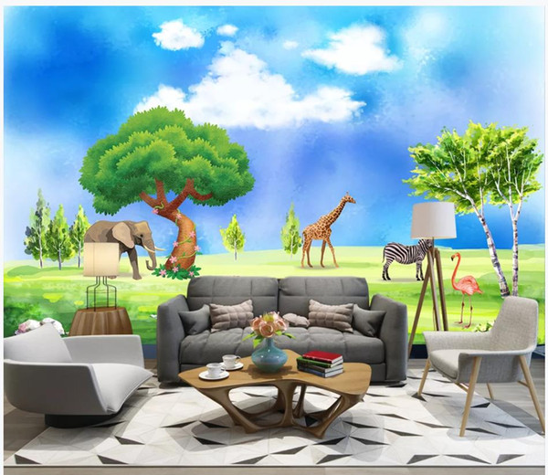 Custom photo wallpaper for walls 3 d murals wallpapers cartoon Living room bedroom children's room tropical rainforest wall