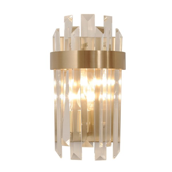 Delin Single Light LED Wall Sconces Lighting AC90-260V Bedroom Gold Crystal Wall Lamp