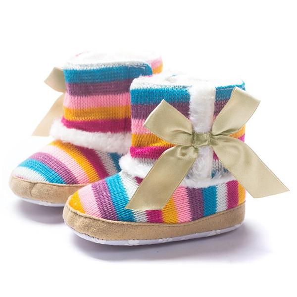 Arco-íris morno recém-nascido criança botas de inverno Primeiros andadores Meninas Meninos sapatos macios Sole Fur Neve Sapatinho para 0-18M