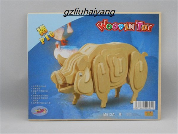 top popular New Wood Assembly DIY Education Toy for 3D wooden model puzzles of Animals Pig 2019