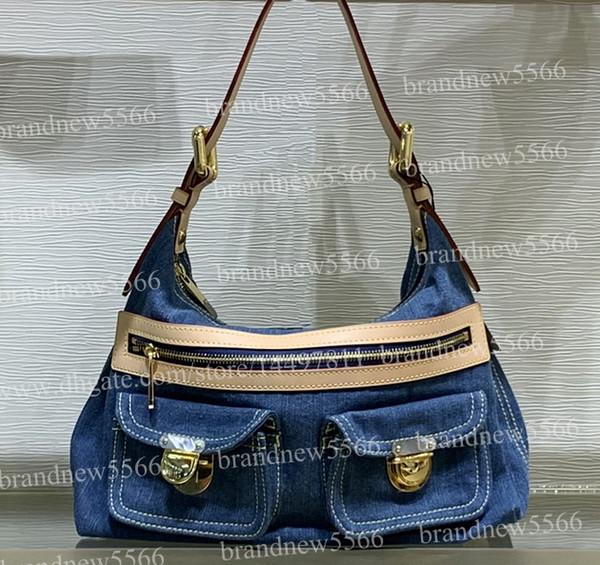 2019 Hot Design Women's Denim Hobos Shoulder Bag 44464 Genuine Calfskin Leather Handbag Lady Crossbody Bags 30cm with adjustable belt