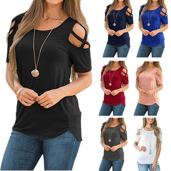2019 новый европейский американский горячая распродажа шею с коротким рукавом с плеча футболка кривая подол женщины блузка и футболка