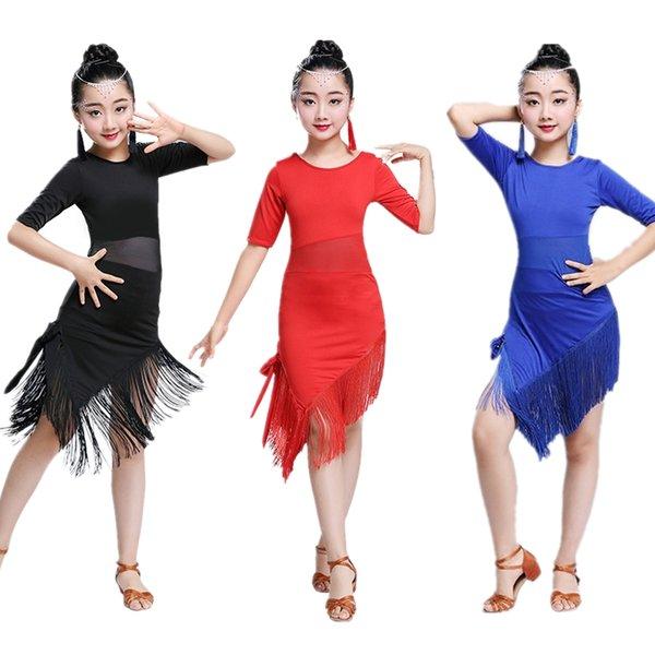 0ec3e50cc1a Noticias Borla Vestido de baile latino para bailar Niños Niña Concurso de  disfraces Adulto Mujer Salón