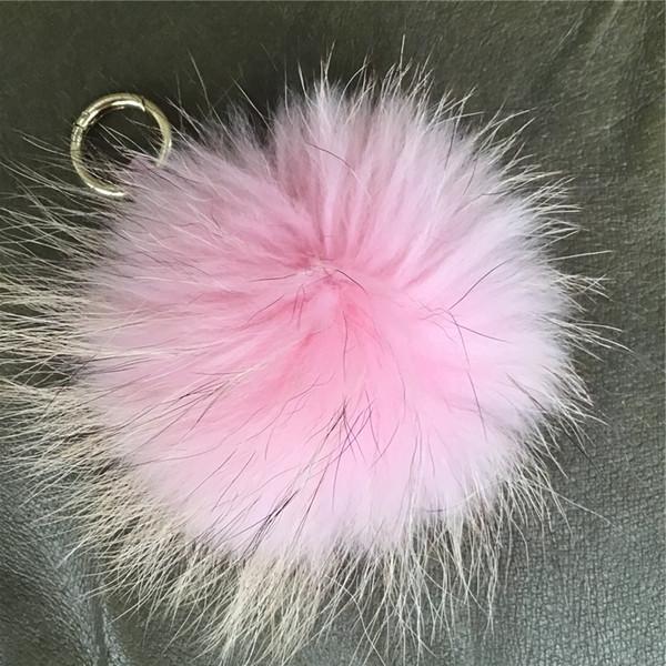 15 cm Yumuşak Pembe Gerçek Rakun Kürk Ponpon Topu Charm Anahtarlık Anahtarlık Aksesuarları Telefon Çanta Çanta (Özel Kabul Edebilirsiniz)
