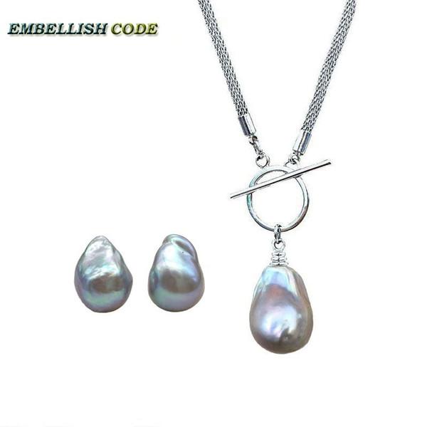 Neue farbe grau grau barock perlenkette halskette anhänger ohrstecker kernhaltige flameball süßwasser natürliche perlen frauen