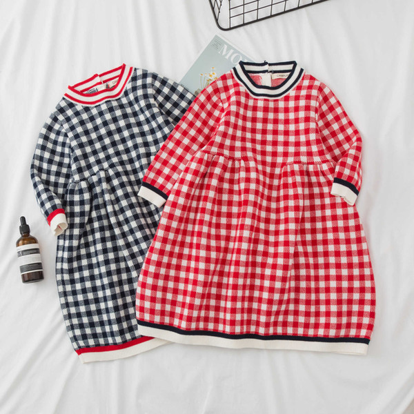 Autumn Winter Girls Preppy Knitted Sweater Baby Girl Dress Girls Plaid Dresses for Christmas Birthday Party Baby Girl Clothes