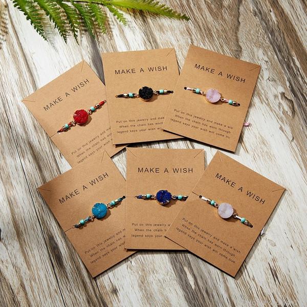 Bir İstek Renkli Doğal Taş Dokuma Kağıt Kart Bilezik Ayarlanabilir Şanslı Red String Halat Charm Bilezikler Bileklik Femme Moda Takı olun
