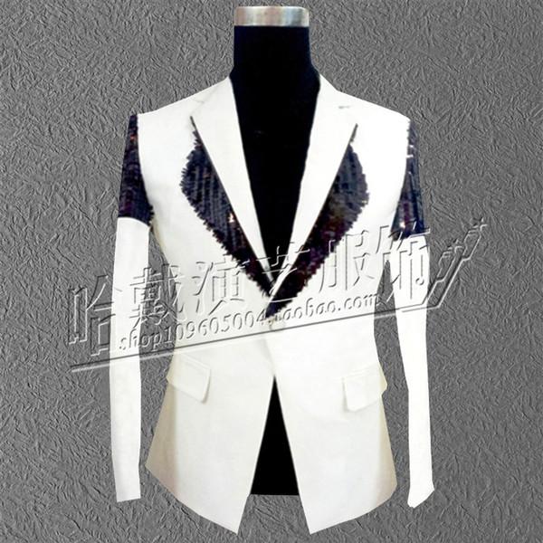 Red White 2 Colours New Men's Sequins Slim Chieses Style Suit Bar Nightclub Singer Host Men's Clothing Night DJ Studio Suit