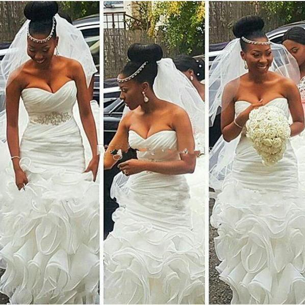 Limpo e moderno sul africano sereia vestidos de casamento vestidos de noiva plus size abiti da sposa com frisado cinto babados trem backless praia