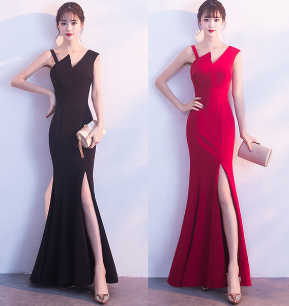 2018 Summer Brides Toast Elegant Sexy Long Fish Tail Wedding Dress Women Party Dinner Dress Prom Gowns Formal Wear A0011