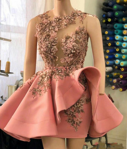 look for best sale large discount Blush Pink Short Cocktail Party Dresses With Ruffles Overskirt 2020 Short  Prom Dress Luxury 3D Floral Detail Beaded Sheer Neck Evening Gowns Kay  Unger ...