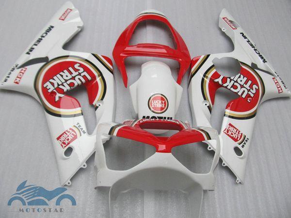 Free custom fairings set for kawasaki Ninja ZX6R 636 03 04 aftermarket ZX-6R 2003 2004 red white fairing kit DF89