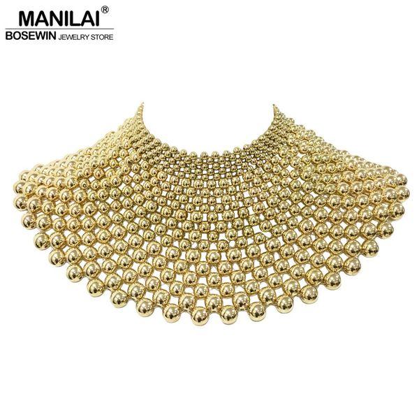 Manilai marca gioielli indiani fatti a mano in rilievo collane di dichiarazione per le donne collare perline choker maxi collana abito da sposa Y19050901