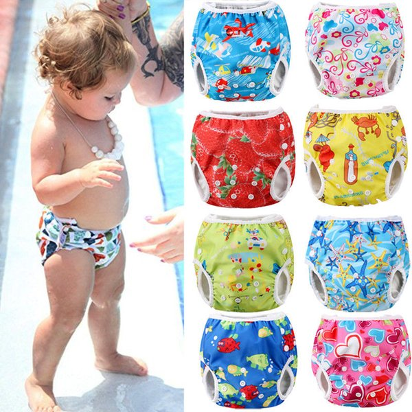 2018 Brand New Toddler Newborn Baby Infant Boy Girls Animal Print Adjustable Swim Diaper Waterproof Swim Trunks Cute Diaper