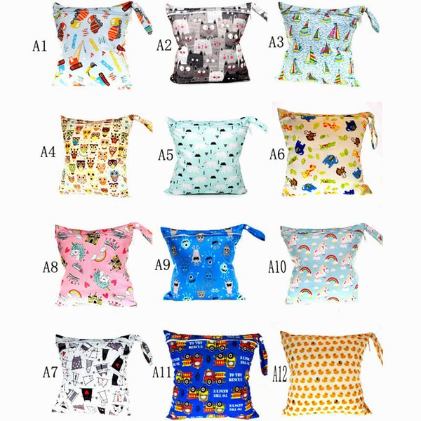 New arrive 30 styles Baby Wet Dry print Diaper Bag Infant Travel Nappy Organizer Double Zipper Waterproof Tote Bag with Soft Snap Handle