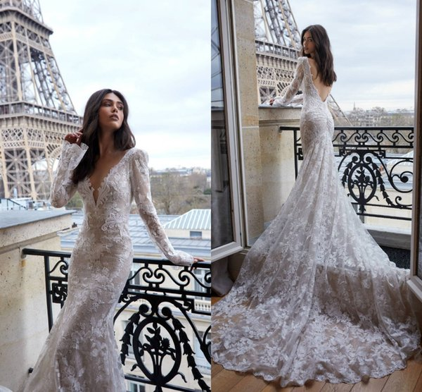 Newest Mermiad Full Lace Wedding Dress Elegant Long Sleeve Deep V Neck Oped Back Beach Boho Bridal Gown