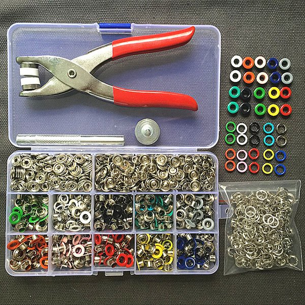 1pc Plier+1set Tool+100sets 10 Colors 9.5mm Prong Snap Buttons Fasteners Press Studs Poppers Buckle+200pcs 5mm Eyelets J190719