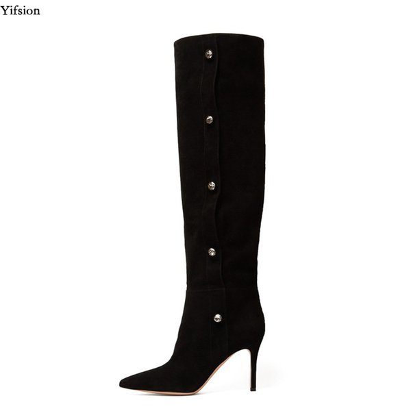 Yifsion New Women Winter Over The Knee Boots Sexy Thin High Heels Ladies Boots Nice Pointed Toe Casual Shoes Women US Size 5-15
