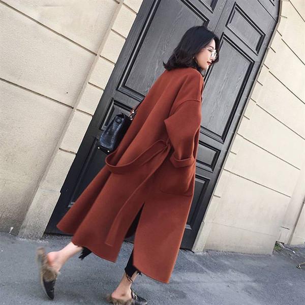 coats woman long coat new women woolen coat thicken long sleeve medium long turn down open front parka belt coat drop shipping