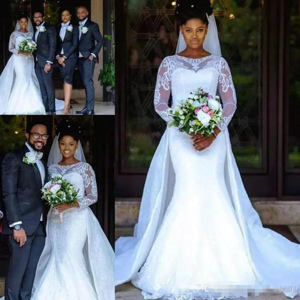 Illusion Illusion Sirène Robes De Mariée En Dentelle Jupe Amovible Sheer Manches Longues Africain Arabe Pays Robes De Mariée Sur Mesure