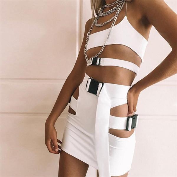 40e455e8d5 2 piece set women suit crop top skirt set ripped cut out buckle belt mini  skirt