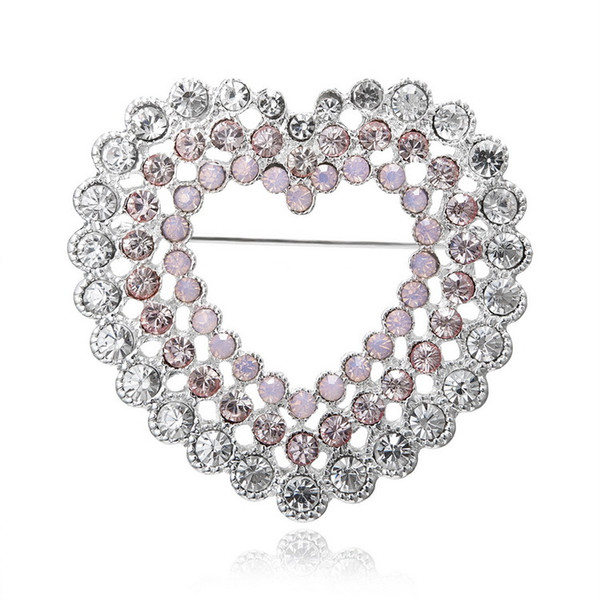2019 Fashion Hollow Brooch Pin for Party Cute Heart Pins and Brooches for Women New Rhinestone Brooches Badge for Mother