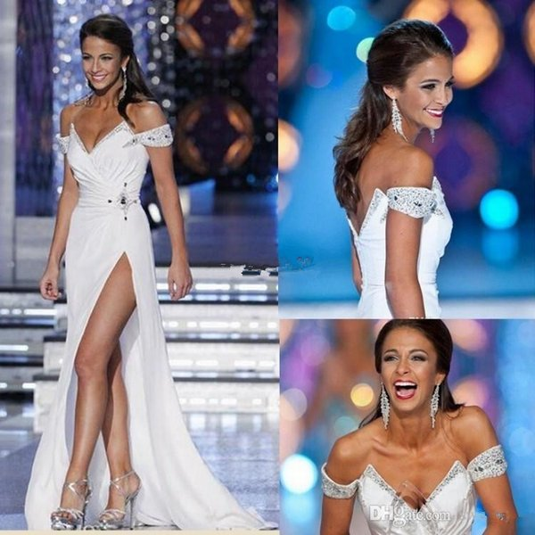 White Miss World 2019 Pageant Evening Gowns Off the Shoulder White Full Length Beads Backless Sexy High Split Cheap Long Prom Party Dress
