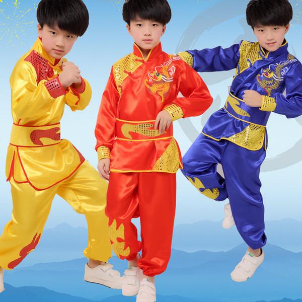 Meninas chinesas roupas de kung fu dança tradicional crianças dragão crianças trajes de dança folclórica moderna hanfu lion national boys