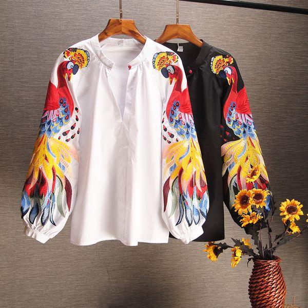 2019 Camicie causali in cotone primavera e estate Camicie ricamate a maniche lunghe Donna manica lunga con stampa O-collo lanternaMX190827