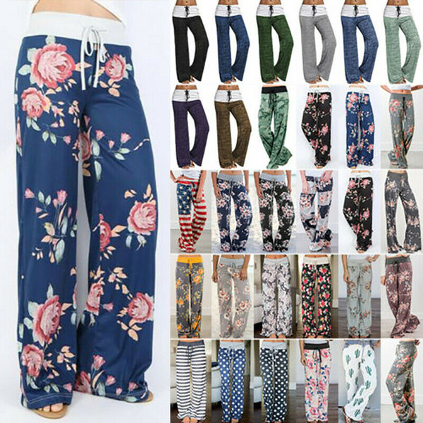 best selling Women's Comfy Casual Pajama Pants Floral Print Drawstring Lounge Wide Leg Boho Baggy Harem Hippie Yoga Palazzo Beach Trousers