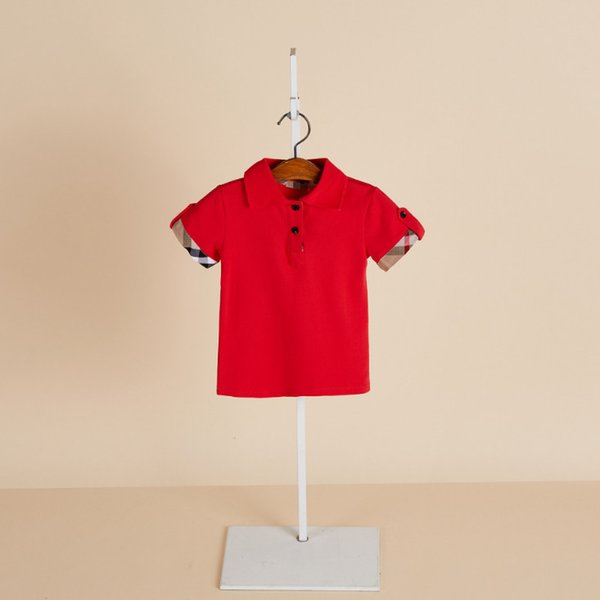 top popular 2019 Summer new boys girl T shirt kids lapel plaid short sleeve shirts fashion Tee kids clothes children cotton Boy casual tops tee 2020