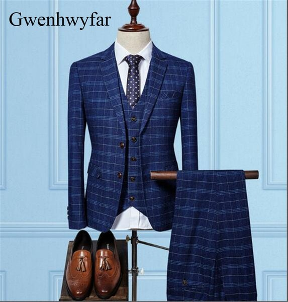 Gwenhwyfar Dark Colored Blue Plaid High Quality Groom Tuxedos Mens 3 Pieces Suits Slim Fit Tailor Made Wedding Suits For Men2018 C19011601
